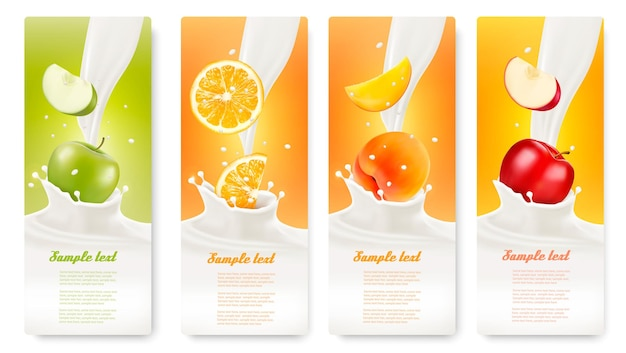 Set of banners with fruit and milk. vector.