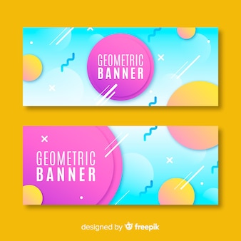 Set of banners with geometric shapes