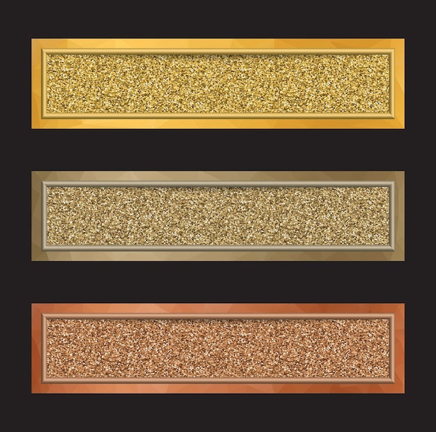 Set of  banners with glittering effect in golden, silver and bronze colors isolated