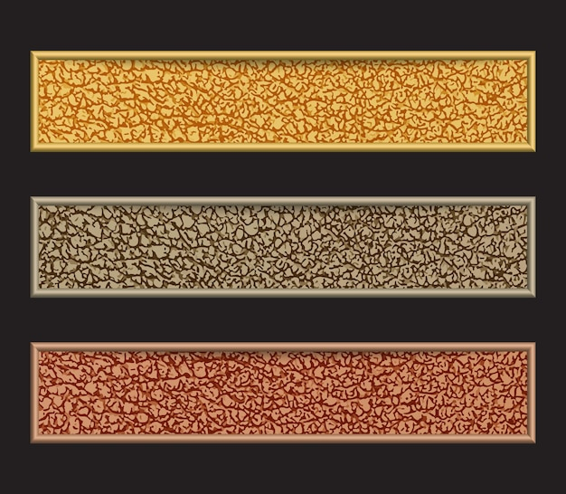 Set of  banners with glittering in yellow, grey and brown colors isolated on black.