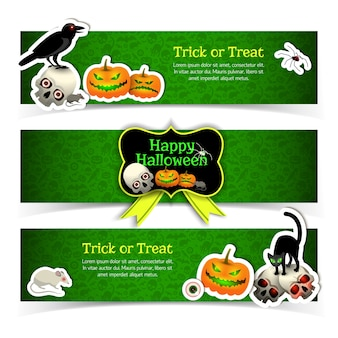 Set of banners with halloween elements animals and yellow ribbon on green textured background isolated