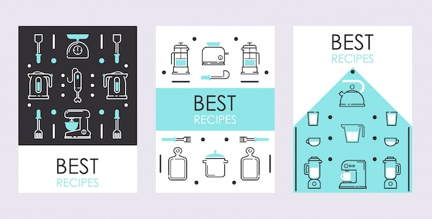 Set of banners with line icons of kitchen supplies