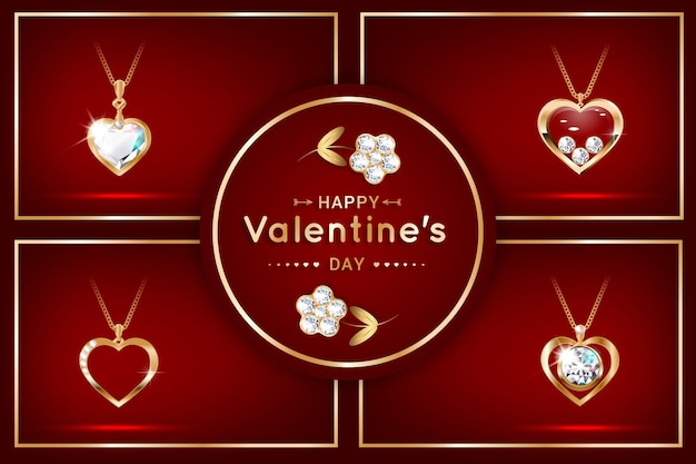 Set of banners with a pendant in the form of a heart with diamonds. expensive jewelery, necklace. valentine's day