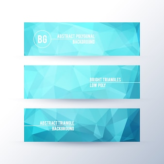 Set of banners with polygonal abstract background