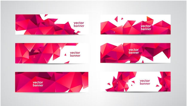 Set of banners with polygonal geometric low poly, traingles