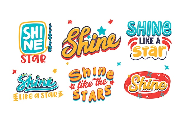 Set of banners with shine like a star typography