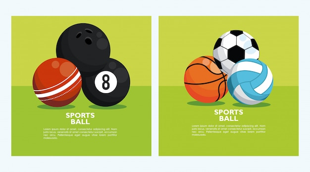 Set of banners with sports balls