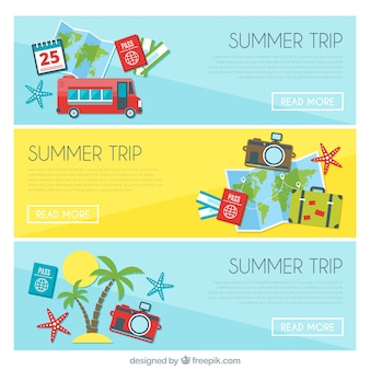 Set of banners with summer trip elements
