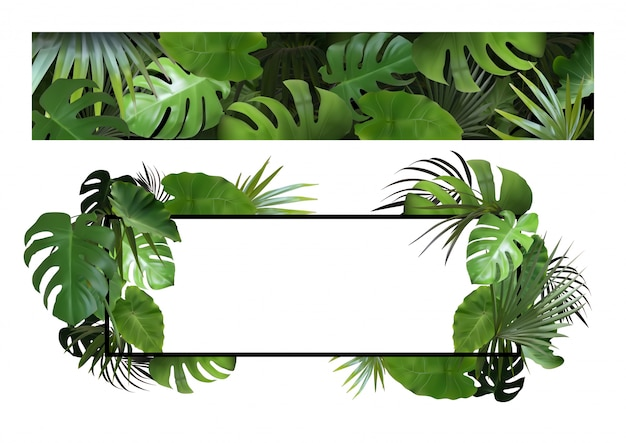 Set of banners with tropical leaves