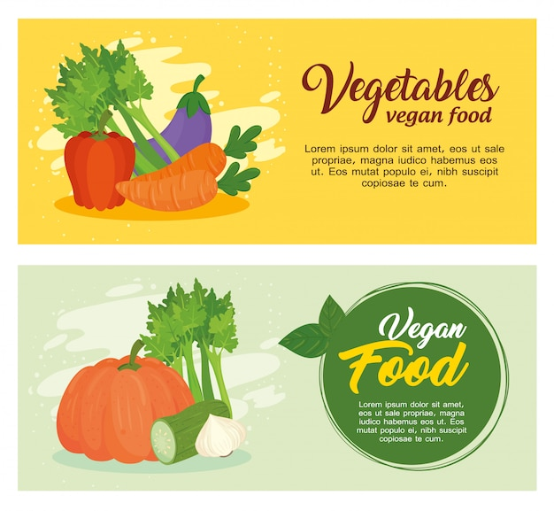 Set of banners with vegetables, concept vegan food, with fresh vegetables