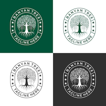 Set banyan tree logo design vector for your business or community