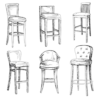 A set of bar chairs isolated .
