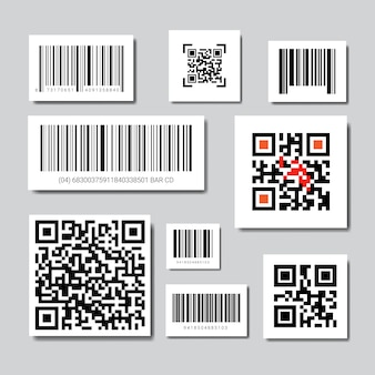 Set of bar and qr codes for scanning icons collection