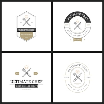 Set of barbaque badge vector logo
