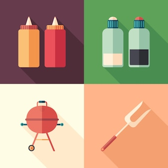 Set of barbecue flat square icons with long shadows.