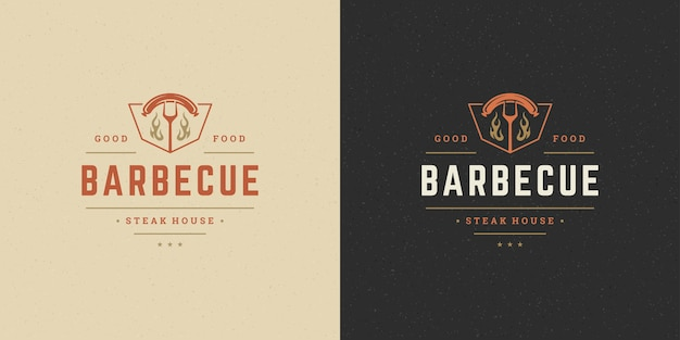 Set of barbecue grill steak house logos