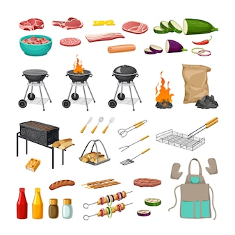 Set barbecue grill.