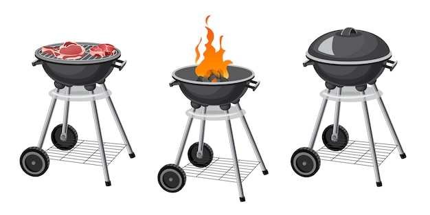 Set of barbecue grill.