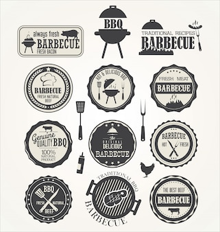 Set of barbecue labels