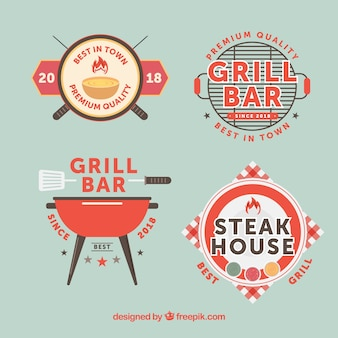 Set of barbecue logos in flat style