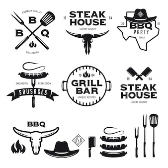 Set of barbecue steak house grill bar labels badges emblems and design elements