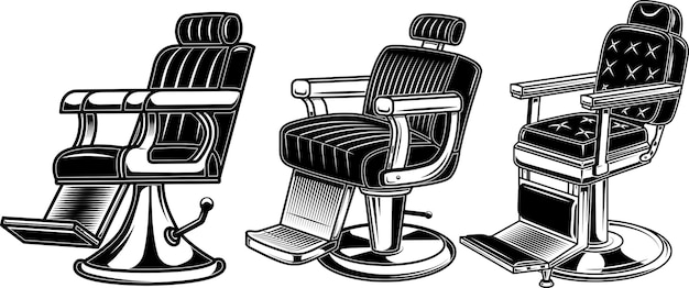 Set of barber chair illustrations
