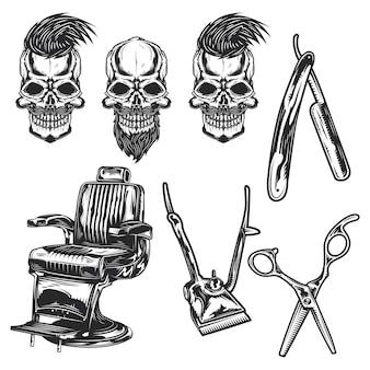 Set of barber equipment and skulls