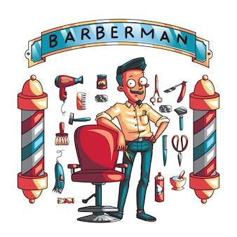 Set of barber tools and barber man