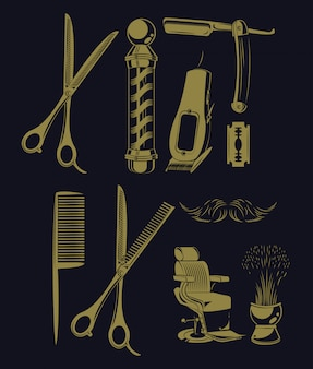 Set of barbershop utensils collection