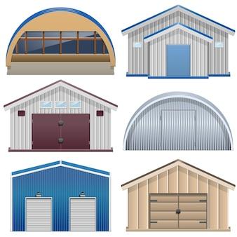 Set of barns isolated on white
