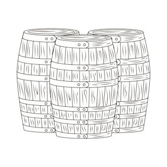 白い背景で隔離のバレルを設定します。刻まれたスタイルの木製樽。ヴィンテージスケッチ黒のアウトラインをクローズアップ。ベクトルイラストデザイン。