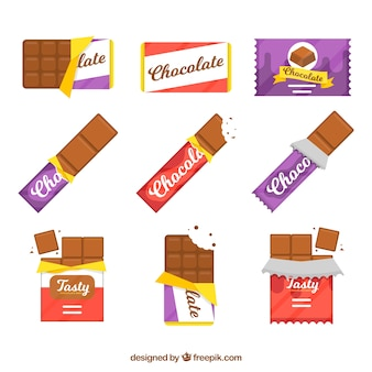 Set of bars and pieces with different chocolates