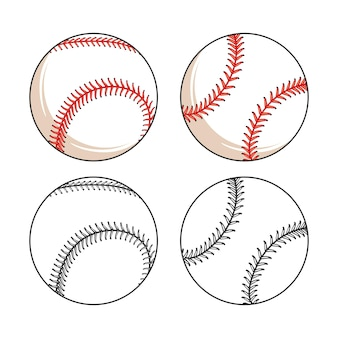 Set of baseball leather ball various sides