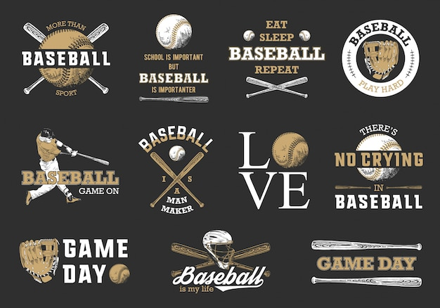 Set of baseball logos