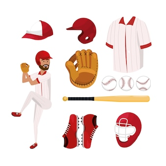 Set baseball player and professional uniform