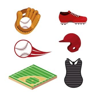 Set baseball sport uniform and professional equipment
