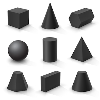 Set of basic 3d shapes. black geometric solids