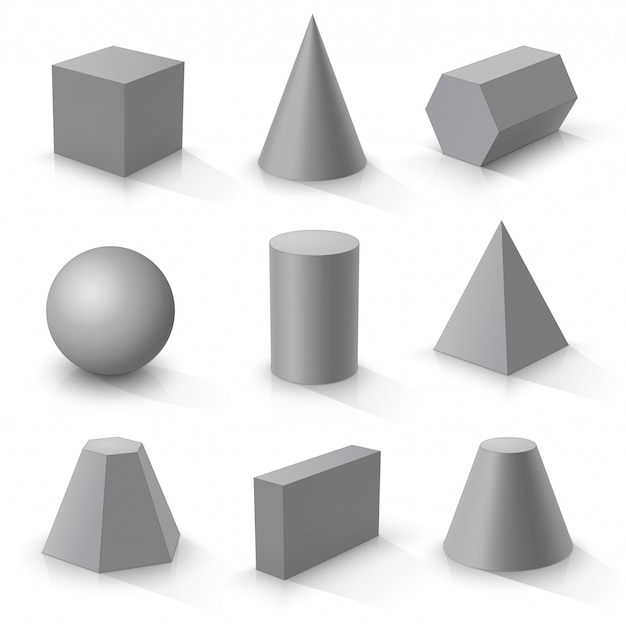 Set of basic 3d shapes,  grey geometric solids on a white background