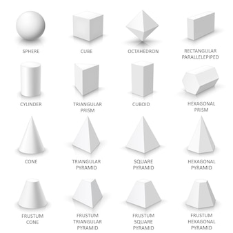 Set of basic 3d shapes, white geometric solids on a white background