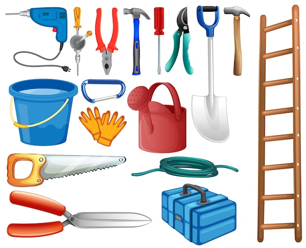 Set of basic tools commonly used at home