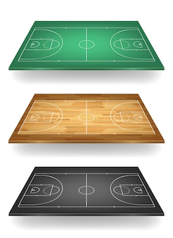 Set of basketball courts in different colours - green, wooden and balck. top view.