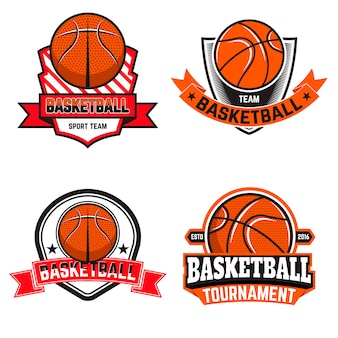 Set of  basketball labels and logos and  elements for basketball teams, tournaments, championships  on white background. design element in .
