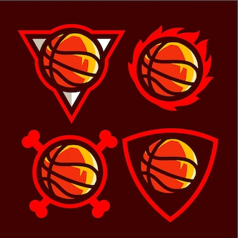 Set basketball logo for american sport team