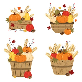 Set of baskets and pumpkins with leafs and wheat
