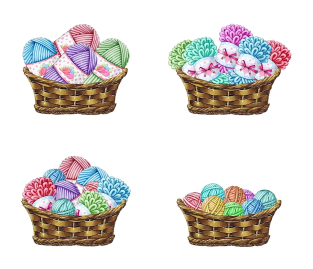 A set of baskets with yarn for knitting