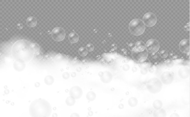 Set of bath foam with shampoo bubbles soap gel or shampoo bubbles overlay suds texture Premium Vector