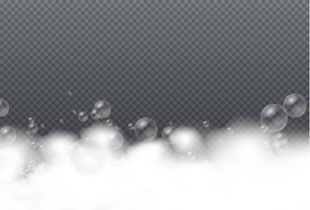 Set of bath foam with shampoo bubbles soap gel or shampoo bubbles overlay suds texture
