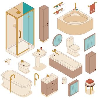 Set of bathroom furniture for interior design