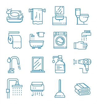 Set of bathroom icons with outline style
