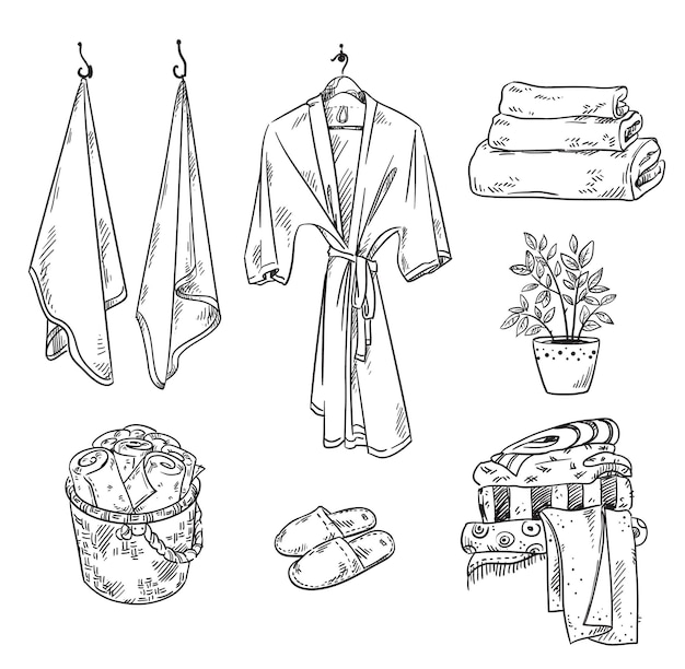 Set of bathroom textile objects towels robe slippers